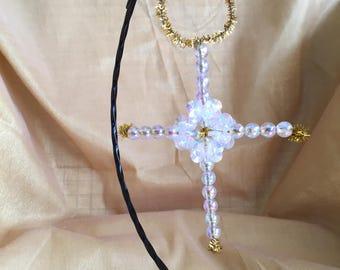 Iridescent Plastic Crystal Bead Cross Ornament
