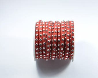 CO105 - 1 metre of Red suede cord metallic studs silver