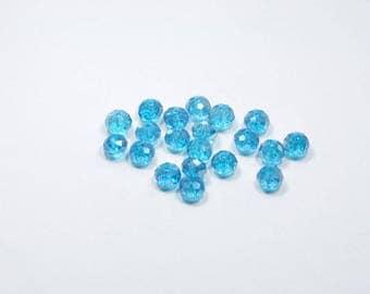 PE14 - Set of 20 blue transparent Crystal beads