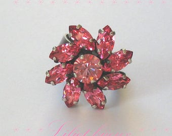SWAROVSKI CRYSTAL ROSE FLOWER RING