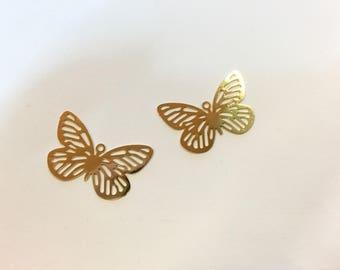 10 prints fine butterflies 24x15mm Golden jewellery designs
