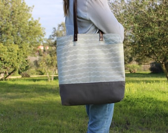 Tote bag cotton and canvas beige waves, leather handles, shopping style