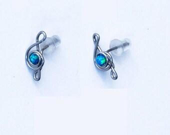 Tiny opal earrings music jewelry treble clef earrings opal earrings, silver Opal stud earrings, blue opal earrings, Simple earrings