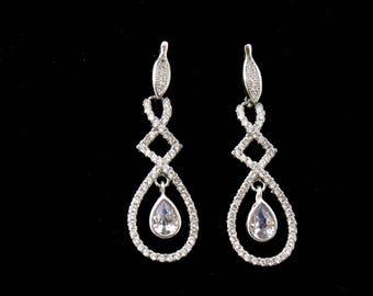 Silver Crystal Bridal Earrings, Crystal Earrings for Weddings, Long Drop Silver Crystal Earrings, Rhinestone Earrings, Bridal Jewelry