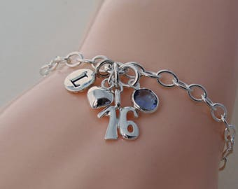 Personalized 16th Birthday Charm Bracelet, Gift for Girls, Sterling Silver Age Charm Jewelry, 16th Birthday Gift