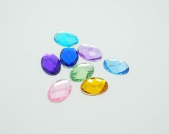 8 x cabochon faceted oval rhinestone multicolor 13x18mm (l1148)