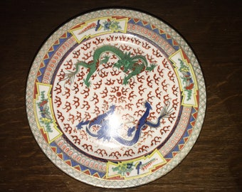 Chinese dragon gold guilding plate
