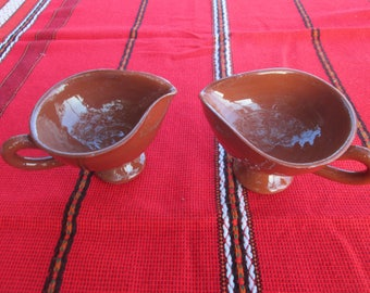Set of two bowls of sauce, Vintage ceramic bowls, Bulgarian handmade ceramic