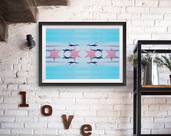 Chicago Air and Water Art Print Flag