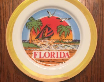 Vintage Florida Plate with Orange Border, Sailboat, Seagulls and Sunset Over The Ocean