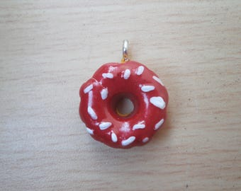 Charm donut red and white sprinkles