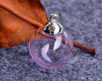 2 pink glass 1 hole GLOBES 16mm + 2 silver CLASPS (G116)
