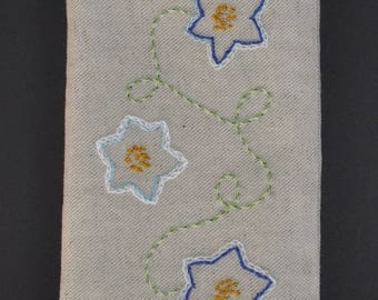 pouch smartphone linen embroidered three flowers double polyester fleece