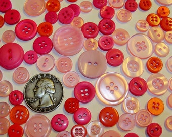 Mixed Button Lot! PINK Shades - FREE SHIPPING! Wholesale/Bulk/Discount/Supply Sewing/Crafts/Art Pink/Rose/Wine