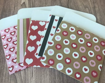 "Library Card Pouch Pockets - 3.25""x4"" - Love Theme - Valentine's Day, Smash-booking, Junk Journaling, Scrapbooking"