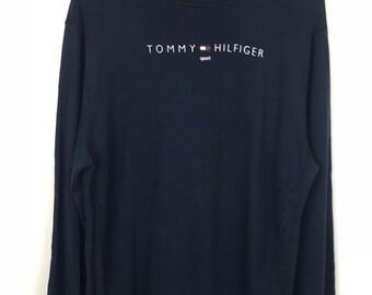 Rare!!! Tommy Hilfiger Sport Sweatshirt Spellout Small Logo Jumper