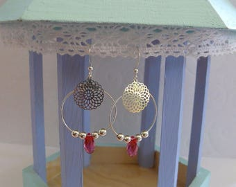 Filigree silver and Swarovski pink coral hoops