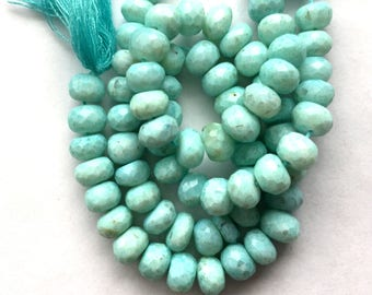 "Blue Peruvian Opal Faceted Rondelle Beads - 7"" strand"