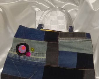 bag denim patchwork and decoration buttons