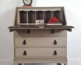 Vintage Writing Bureau, Writing Desk, Hand Painted Desk, Fusion Mineral Paint