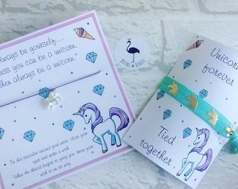 Unicorn Wish Bracelets & Hair Tie, Unicorn favours, Unicorn Party, unicorn party supplies
