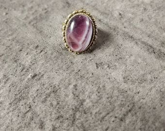 Adjustable ring with Amethyst, natural and unique
