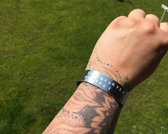 Hand stamped metal cuff bracelet