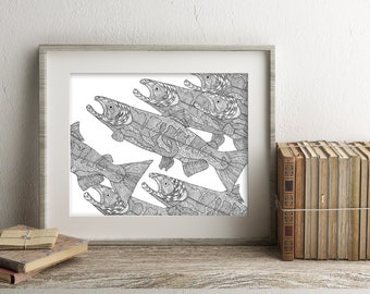 Salmon pen and ink illustration print limited edition signed and numbered