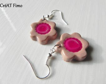 Polymer clay pie earrings