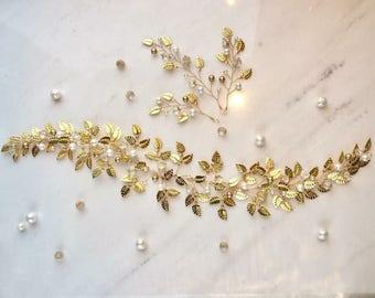 Bridal gold leaf vine