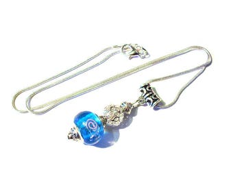 Necklace vintage 925 sterling silver, blue murano glass bead