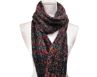 Echarpe, Scarf, scarf woman, scarf man, écharpe femme, écharpe homme, écharpe tricotée main, franges, noire