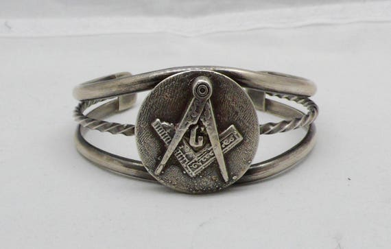 Freemason (Masonic) Sterling Silver Cuff Bracelet with Traditional Compass & Square