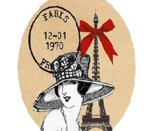 30x40mm woman vintage eiffel tower, red bow