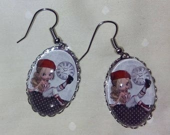 """miss Red beret"" earrings"