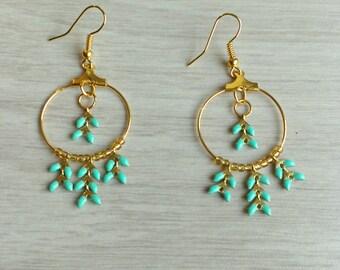hoop earrings Gold ear chain