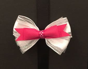 White Bow with Red Polka dot center