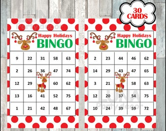 Printable 30 Rudolph Christmas Bingo Cards, printable Christmas Bingo game, Christmas printable bingo cards, instant download