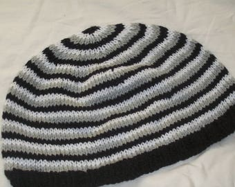 Men's Hand Knit Black, Grey and White Striped Beanie - New