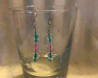 Blue & Pink Glass Mardi Gras Bead Earrings