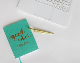 Good Vibes Girly Stock Photo, Notebook and MacBook Styled Photo, Styled Photos for your business, website, blog and more! Set of 2