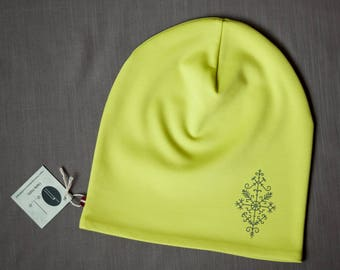 Bright green women's beanie hat Slouchy jersey beanie with cotton lining Autumn/spring hat for women/teen Scull hat for outdoor activity
