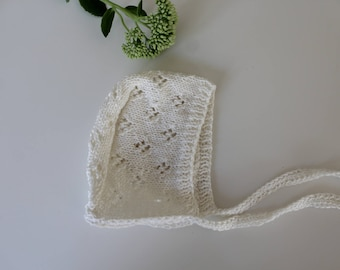 Baby bonnet knitted cotton handmade lace pattern