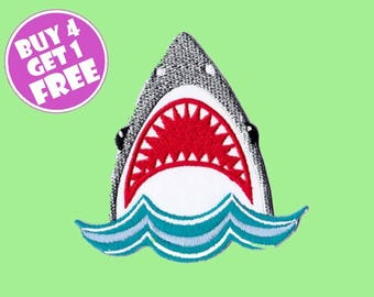 Shark Patches Predator Patches Iron On Patch Embroidered Patch Ocean Beach