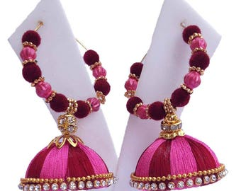 Multi color Silk thread earring
