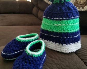 Seahawks beanie and booties