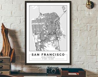 San Francisco, California, City map, Poster, Printable, Print, Street map, Wall art