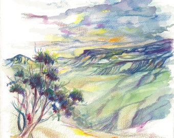 Blue Mountains Sketch | Pencil, Watercolor, Drawing, Artwork, Wall Art, Decor, Drawing, Original, Nature, Trees, Australia