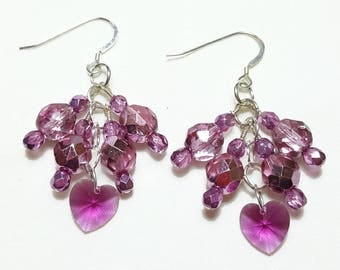 Pink Fuchsia Crystal Cluster Beaded Earrings