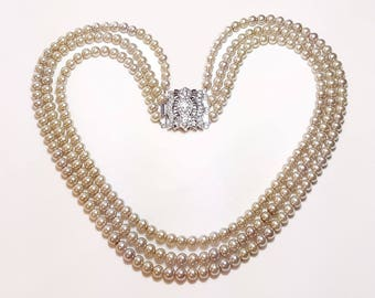 Sand Beige Pearls Triple Strand Bridal Wedding Necklace